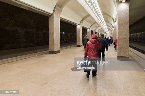 people come to train at metro Gorkovskaya in Nizhny Novgorod : Stock Photo