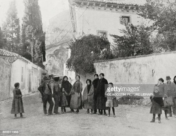 People coming out of their houses to greet the Italian soldiers Serravalle Vittorio Veneto Italy Battle of Vittorio Veneto World War I from...