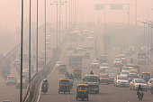 People commute amidst smog on a cold morning on November 3 2015 in New Delhi India Air quality in surrounding areas of Delhi has dropped dramatically...