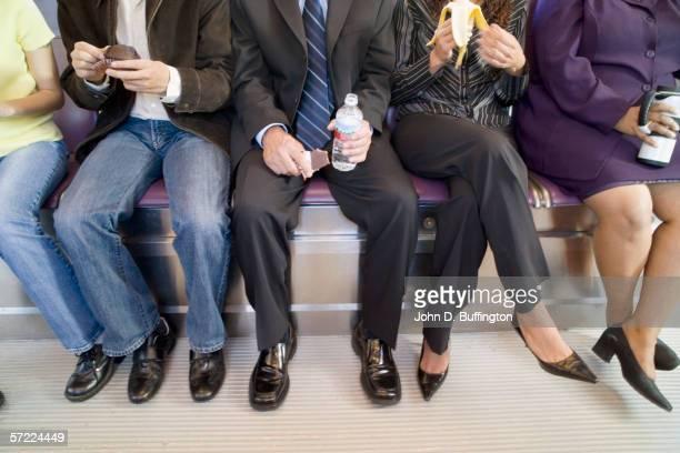 People commuting on subway