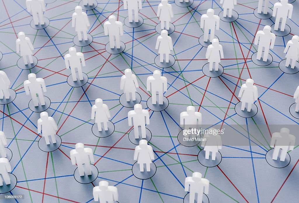 People connected by various networks : Stock Photo
