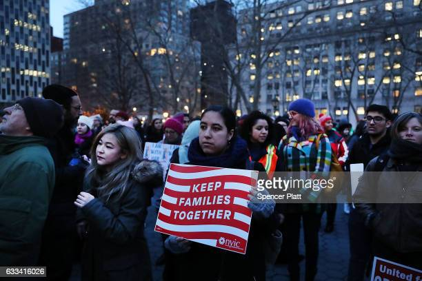 People continue to protest in lower Manhattan against the polices of President Donald Trump on February 1 2017 in New York City Trump's executive...