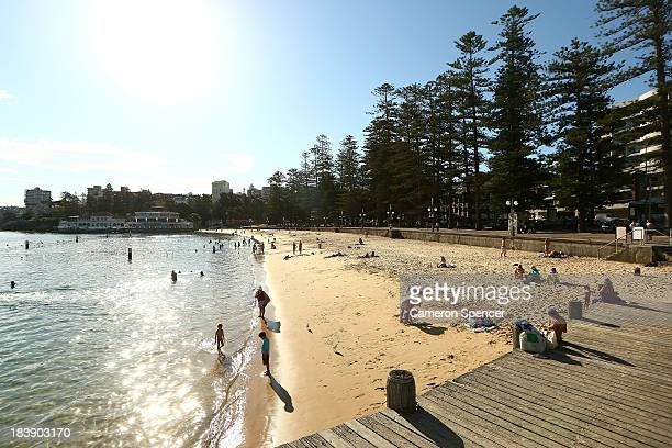 People cool off at Manly Beach on October 10 2013 in Sydney Australia Temperatures are expected to peak at 39 degrees Celsius in Sydney and if...