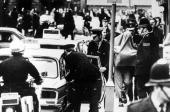 1974 Guildford Surrey England One of two Irishmen is brought out of Guildford Magistrates Court after appearing on charges of murder following the...