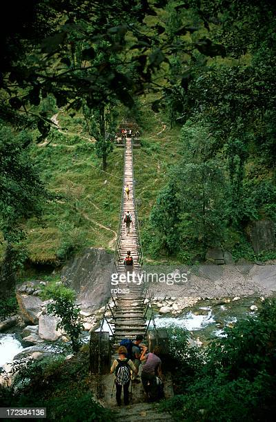 People crossing a suspension bridge