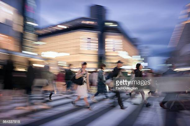 People crossing Kawaramachi-dori in Kyoto, Japan