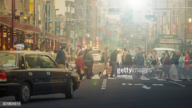 People Crossing Street at Asakusa District, Tokyo