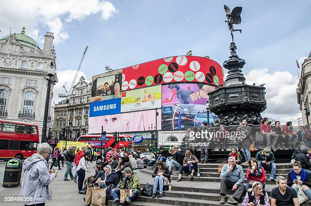People crossing street at Piccadilly Circus Street
