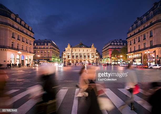 People crossing street at Place de l'Opera, Paris