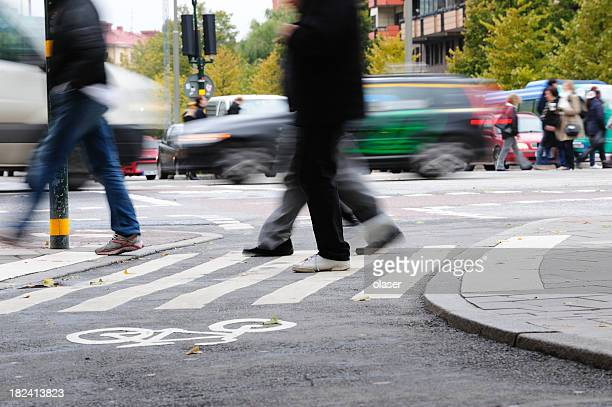 People crossing street, motion blur