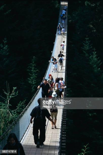 People Crossing the Capilano Suspension Bridge