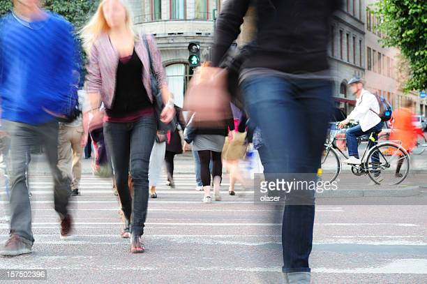 People crossing the street in Stockholm, Sweden