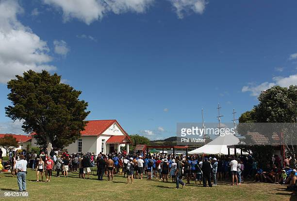 People crowd into TeTii Marae on February 5 2010 in Waitangi New Zealand Waitangi Day is the national day of New Zealand which is a public holiday...