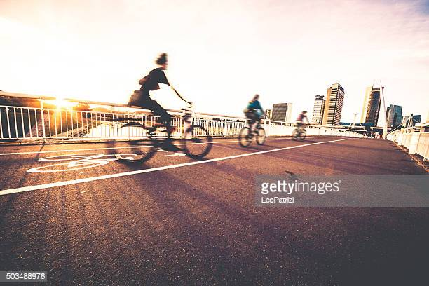 People cycling in Vilnius, Lithuania
