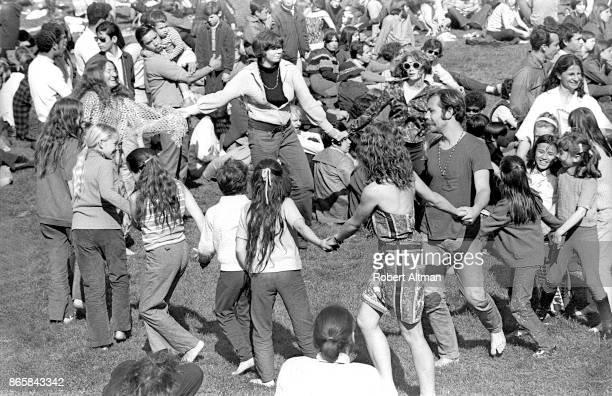 People dance around at Delores Park circa April 1969 in San Francisco California