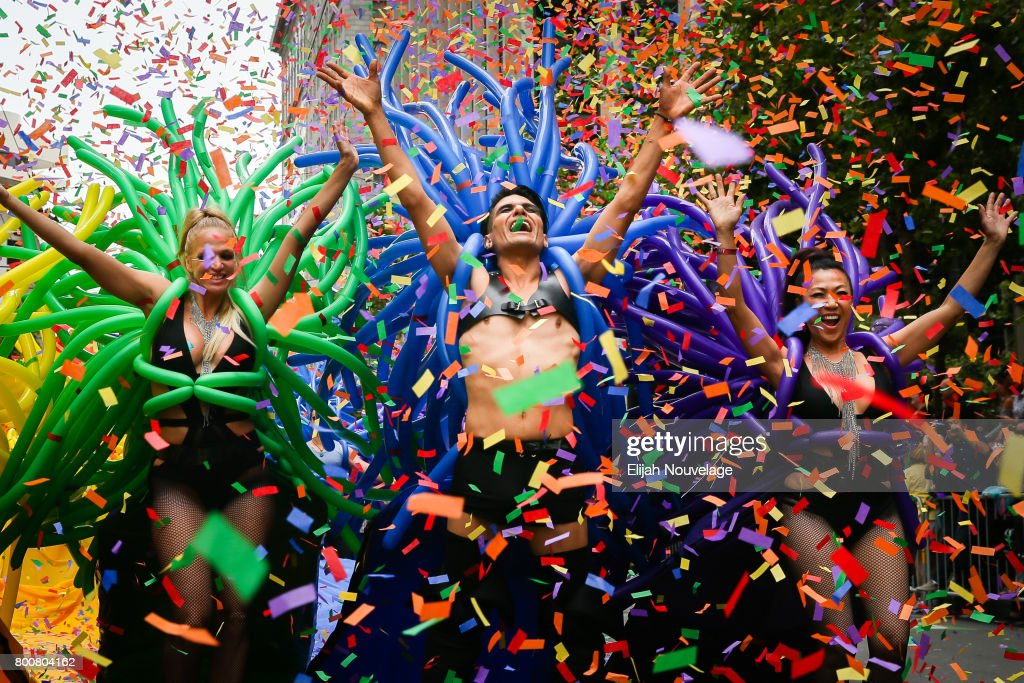 People dance in the annual LGBTQI Pride Parade on June 25, 2017 in San Francisco, California.