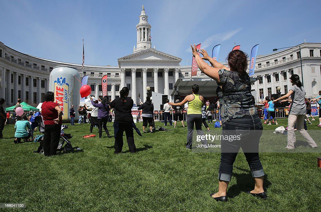 People dance zumba at a Cinco de Mayo festival at Denver's Civic Center Park on May 4, 2013 in Denver, Colorado. Hundreds of thousands of people were expected to attend the two day event, billed as the largest Cinco de Mayo celebration in the United States. Cinco de Mayo observes the victory of the Mexican army over French forces on May 5, 1862 in the town of Puebla, Mexico. The festival celebrates Mexican culture and is one of the most popular annual Latino events in the United States.