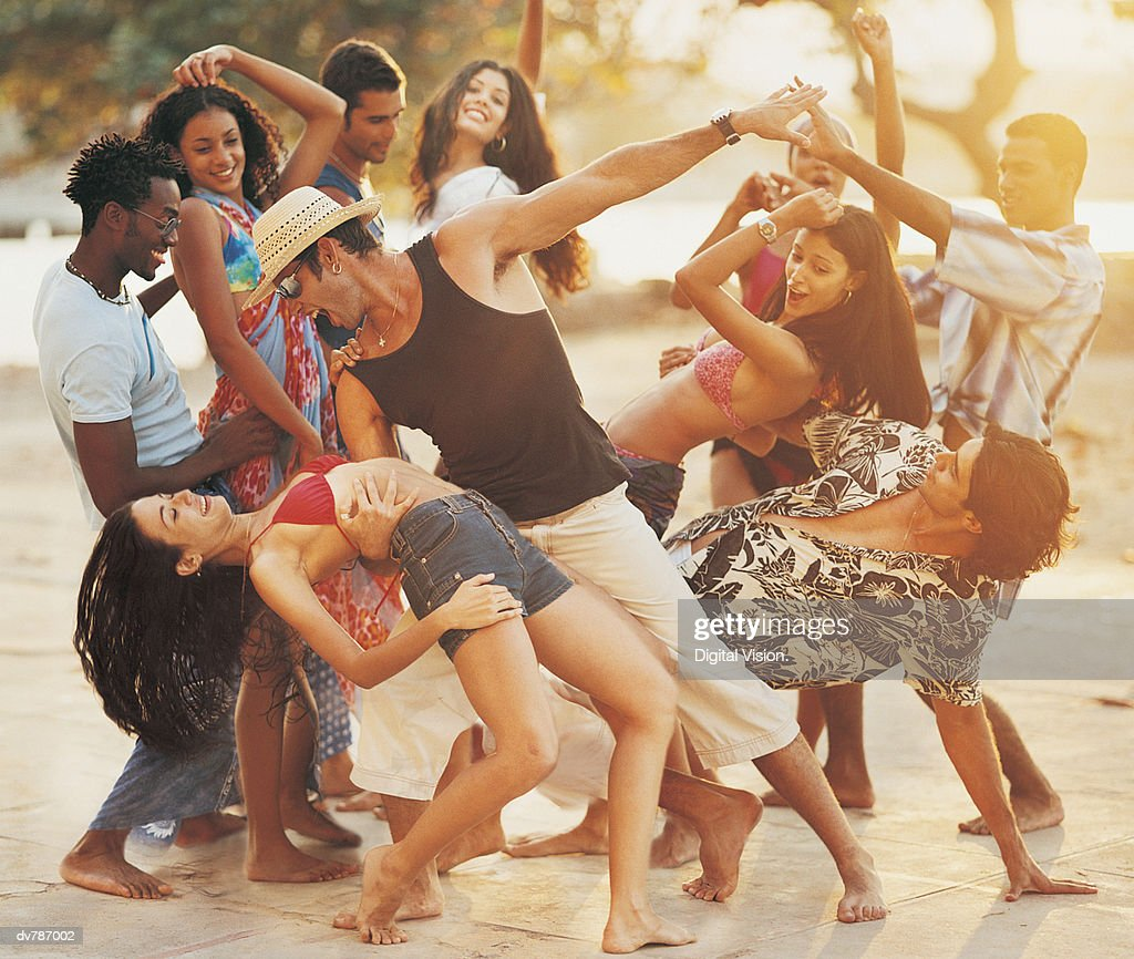 People Dancing at a Beach Party : Stock Photo