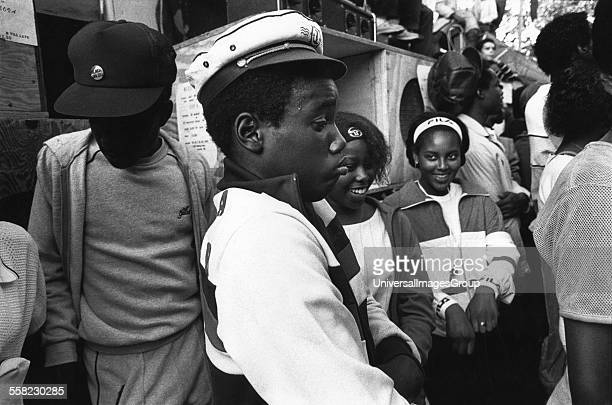 People dancing at a sound system Notting Hill Carnival London UK 1983