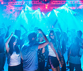 People dancing on dance floor of nightclub