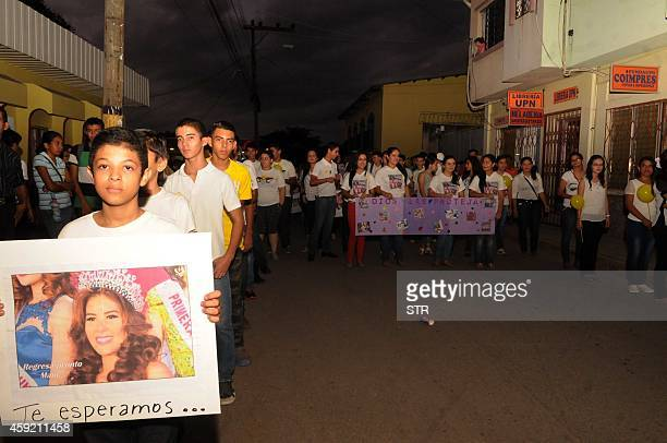 People demand the freeing of Miss Honduras Maria Jose Alvarado on November 18 2014 in Santa Barbara 200 kms north of Tegucigalpa Officials arrested a...