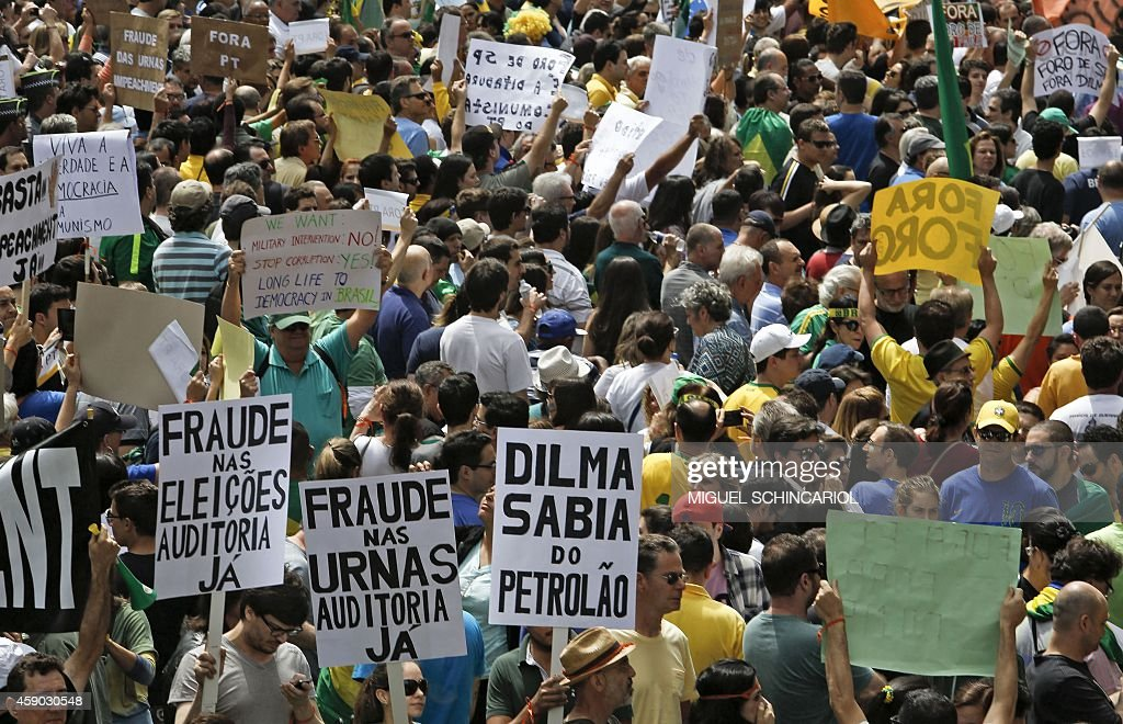 People demonstrate against Brazilian reelected President Dilma Rousseff corruption and govermental policies in Sao Paulo Brazil on November 15 2014...