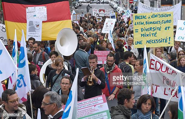People demonstrate against proposed reforms of secondary education on May 19 2015 in Lyon eastern France Teachers in France went on strike to protest...
