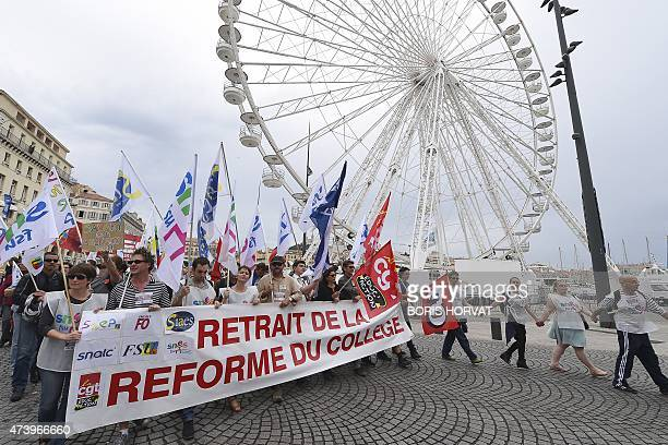 People demonstrate against proposed reforms of secondary education on May 19 2015 in Marseille southern France Teachers in France went on strike to...