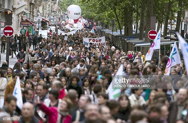 People demonstrate against proposed reforms of secondary education on May 19 2015 in Paris Teachers in France went on strike to protest against a...