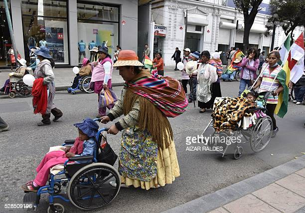 People demonstrate in demand of a raise in the subsidy for the disabled in La Paz on May 5 2016 The demonstrators who have been staging protests for...