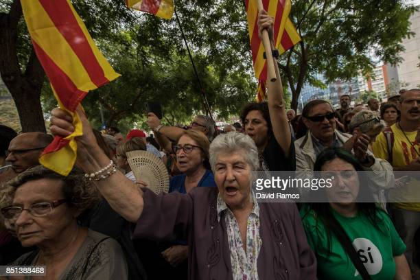 People demonstrate in front of the Court building of Barcelona on September 22 2017 in Barcelona Spain ProIndependence Associations called for a...
