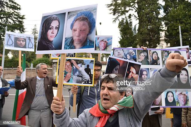 People demonstrate in solidarity with Iranian women injured in a serie of acid attacks and to protest against violence against women on October 29...