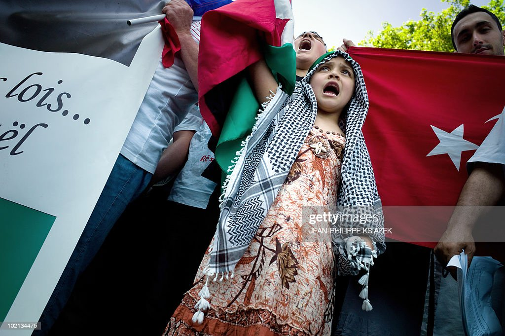 People demonstrate on June 5, 2010 in Lyon, to protest Israel's storming of a Gaza-bound aid flotilla that left nine pro-Palestinian activists dead, as another ship was expected to try to break the Israeli blockade of Gaza.