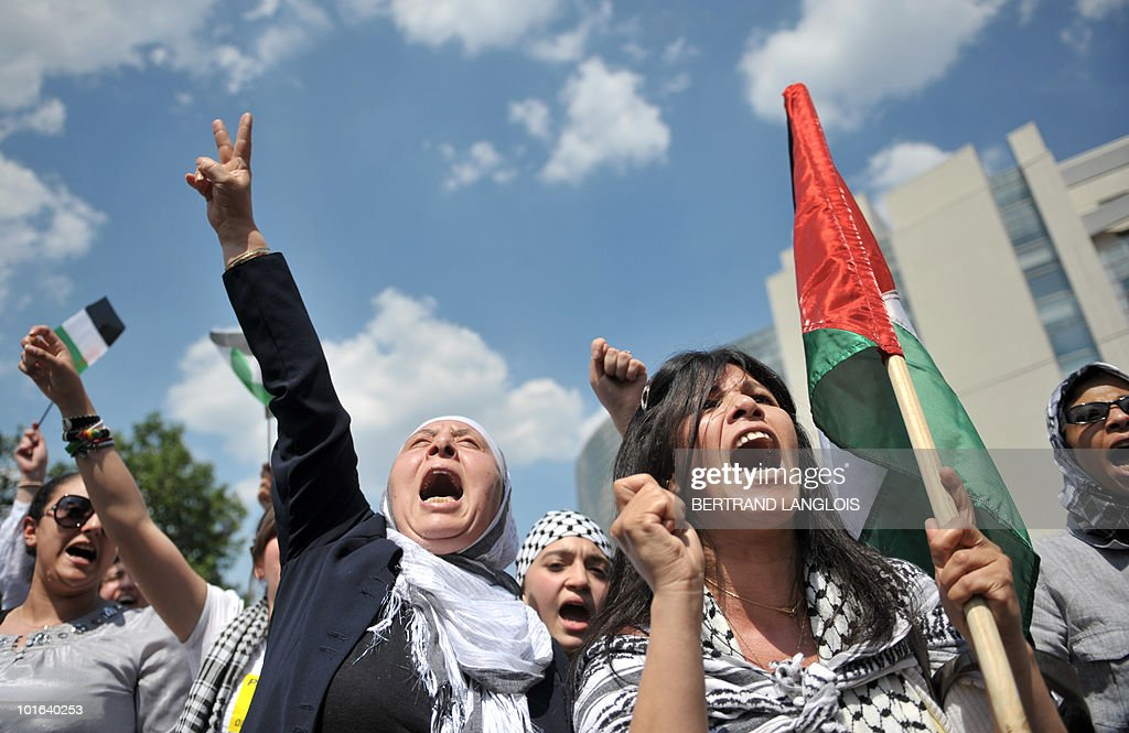 People demonstrate on June 5, 2010 in Paris, to protest Israel's storming of a Gaza-bound aid flotilla that left nine pro-Palestinian activists dead, as another ship was expected to try to break the Israeli blockade of Gaza.