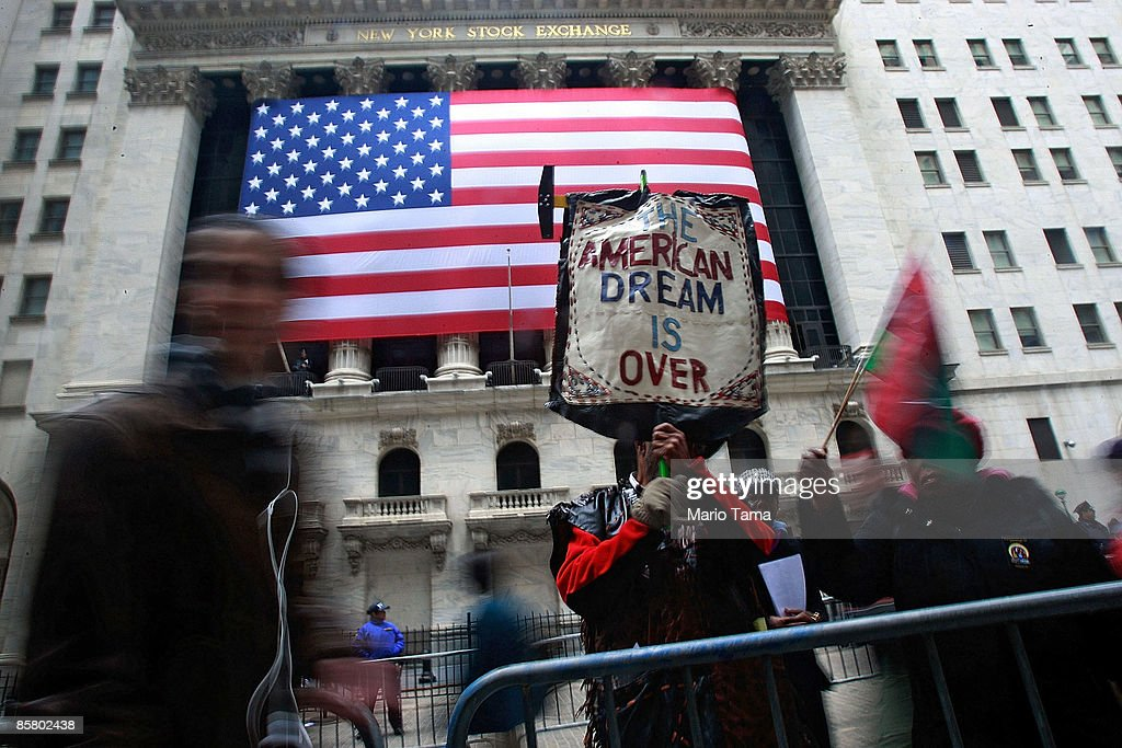 People demonstrate outside the New York Stock Exchange April 4 2009 in New York City Hundreds of anticapitalist and antiwar protesters gathered in...