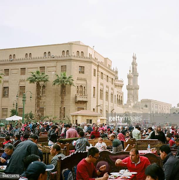 People dining by Khan El-Khalili Bazaar