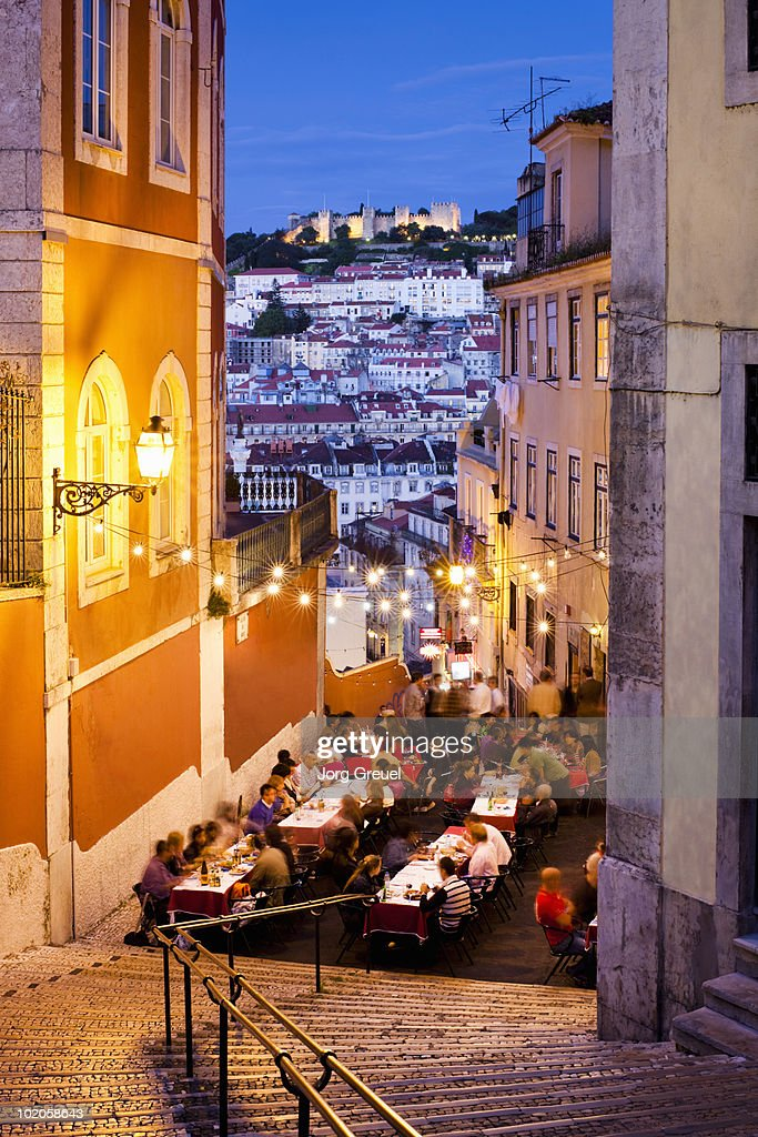 People dining in Calcada Do Duque : Stock Photo