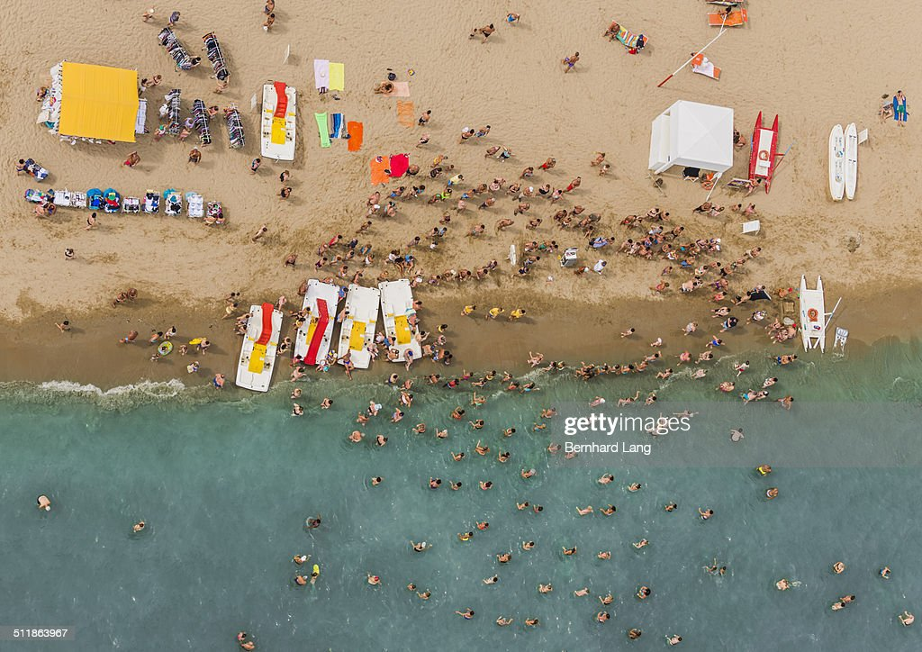 Aerial Photograph of people doing water aerobics at the adriatic coastline in Italy, between Ravenna and Rimini