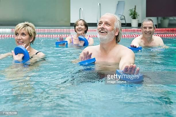 People doing water aerobics