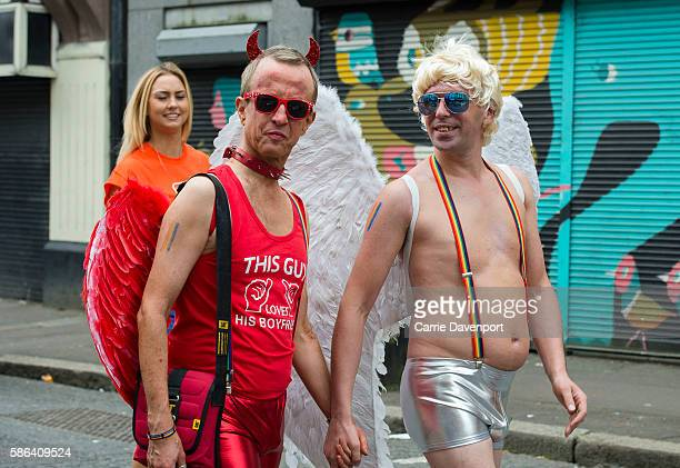 People dress up during the Belfast pride parade and festival on August 6 2016 in Belfast United Kingdom