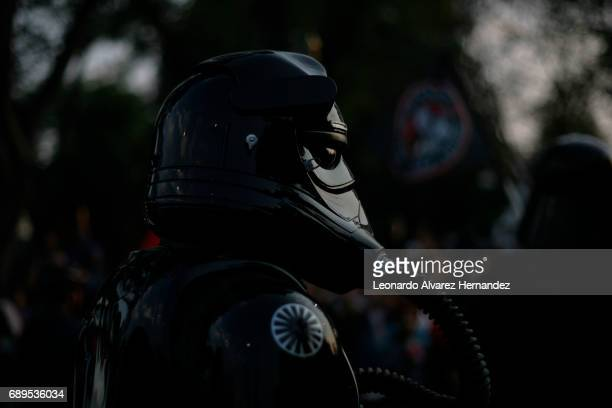 People dressed as Star Wars characters take part in a parade as part of 2017 Star Wars Celebration marking the 40th Anniversary of the original film...
