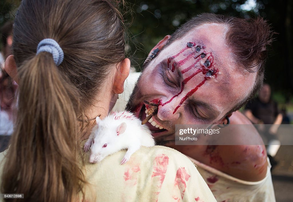 People dressed like zombies on the Zombie Walk in Warsaw, 25 June, 2016, Poland