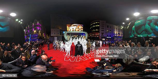 People dressed up as Star Wars characters line up on the red carpet during the European Premiere of 'Star Wars The Force Awakens' at Leicester Square...