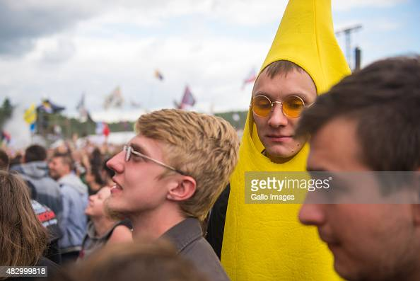 People dressed up on Day 1 of Przystanek Woodstock Festival on July 30 2015 in Kostrzyn Nad Odra Poland The annual 3 day music festival organised by...
