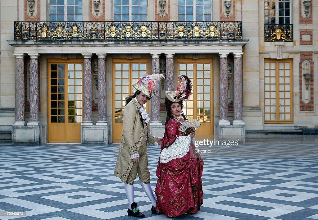 People dressed with 17th century costumes take part in the 'Fetes Galantes' held in the Chateau de Versailles on June 01, 2015 in Versailles, France. This event aims at recreating the atmosphere of the royal festivities of the 17th century. Chateau de Versailles is celebrating the 300 year anniversary of the death of Louis XIV.