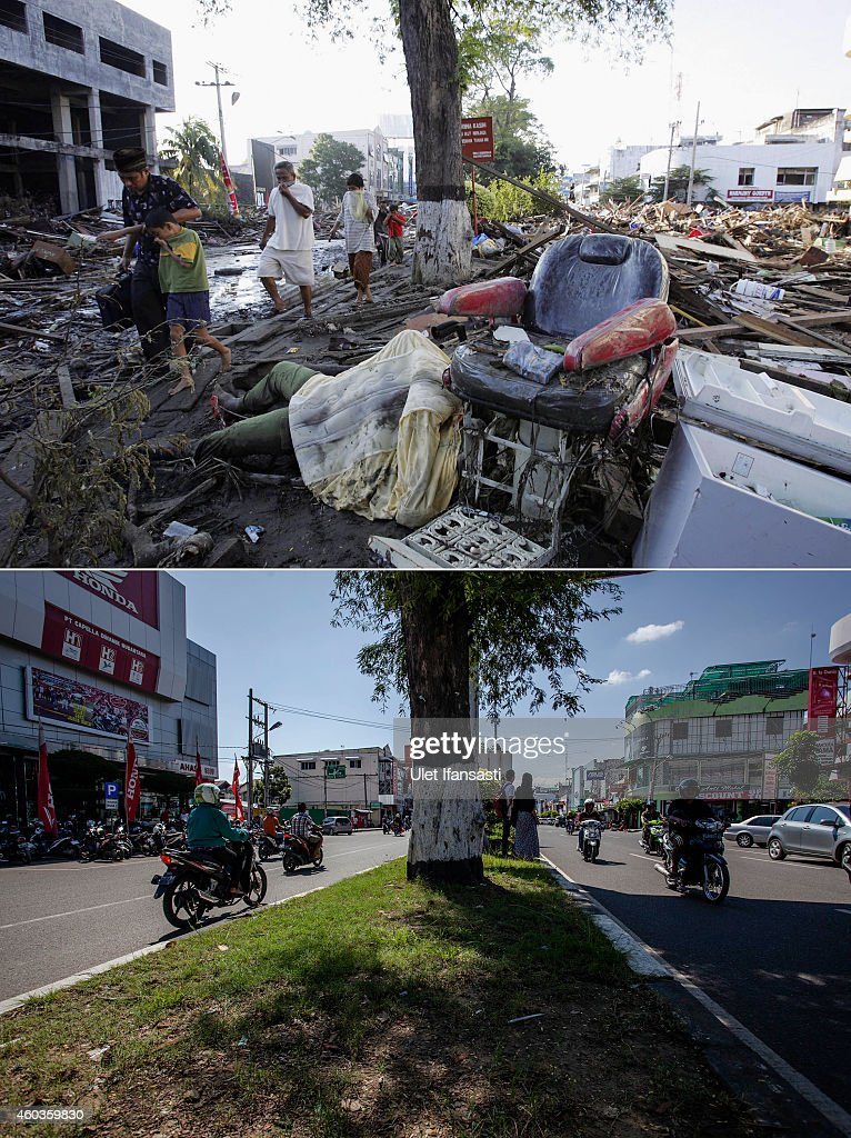 In this composite image a comparison has been made between a scene in 2004 and 2014 BANDA ACEH INDONESIA DECEMBER 10 People drive along Panglima...