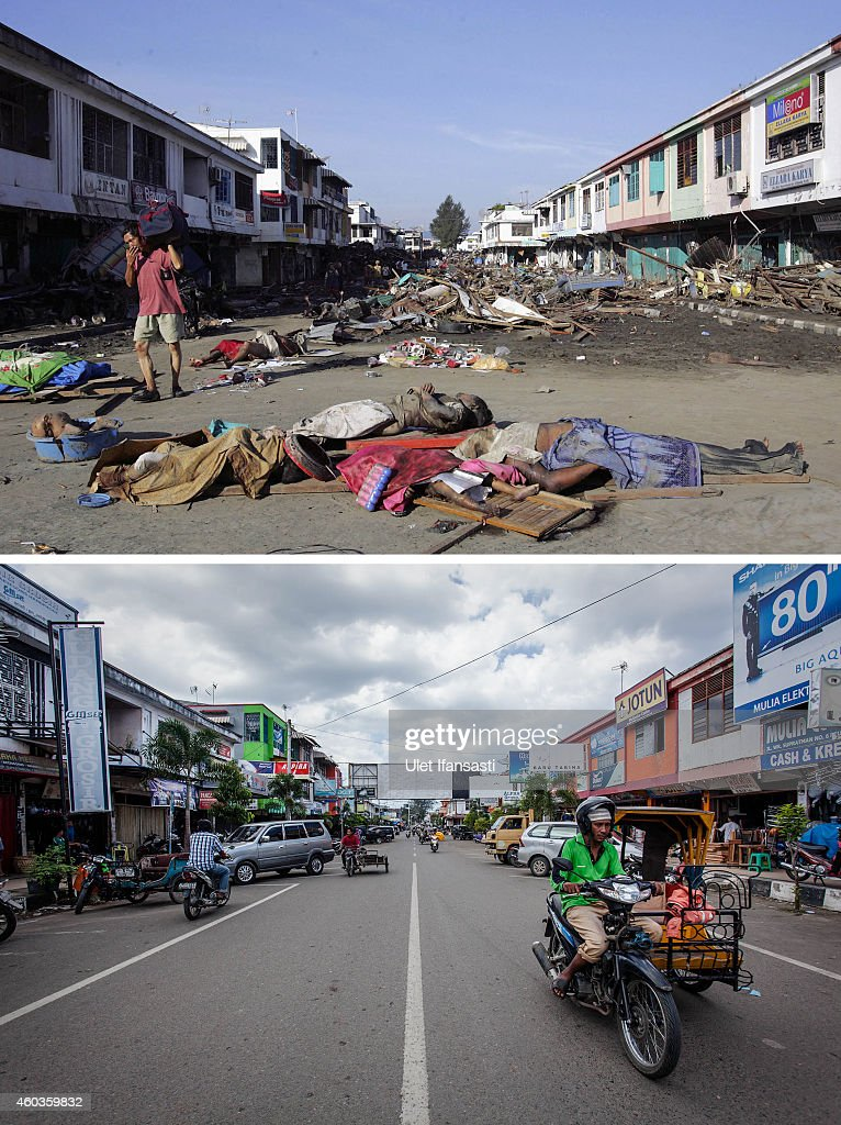 In this composite image a comparison has been made between a scene in 2004 and 2014 BANDA ACEH INDONESIA DECEMBER 10 People drive along WR Supratman...