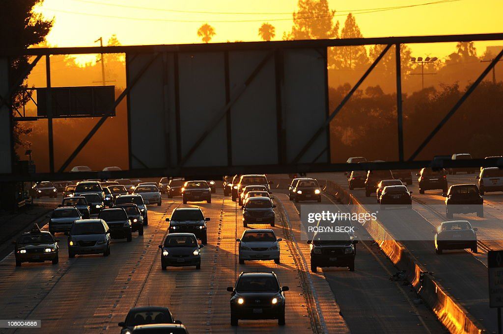 People drive on Highway 134 at the end of the evening rush hour in Glendale California on September 3 before the start of the threeday Labor Day...