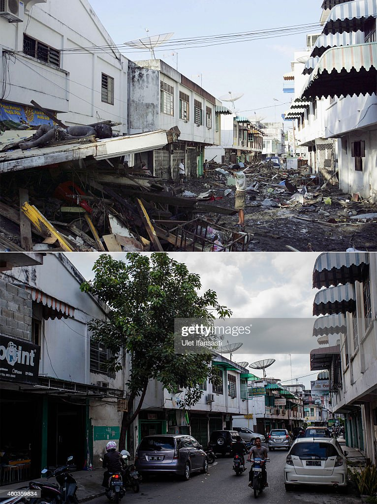 In this composite image a comparison has been made between a scene in 2004 and 2014 BANDA ACEH INDONESIA DECEMBER 10 People drive on Pembangunan...