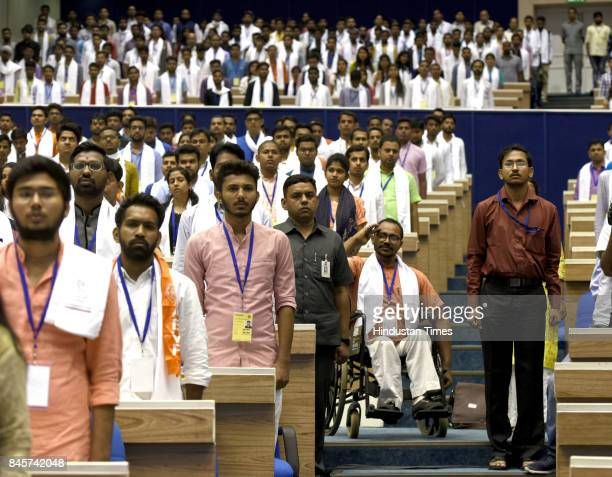 People during the 125th anniversary of Swami Vivekananda's Chicago address and Pandit Deen Dayal's anniversary the gathering was addressed by Prime...